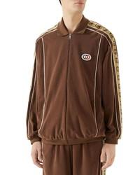 Gucci Interlocking G Stripe Velour Jacket