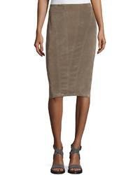 Brunello Cucinelli Paneled Velvet Pencil Skirt Brown