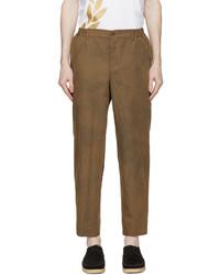 Comme des Garcons Homme Deux Brown Herringbone Stripe Trousers