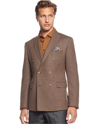 Brown Vertical Striped Double Breasted Blazer