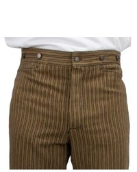 Brown Vertical Striped Dress Pants