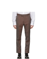 Maison Margiela Orange And Grey Wool Tonic Pinstripe Trousers