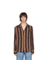 Brown Vertical Striped Long Sleeve Shirt