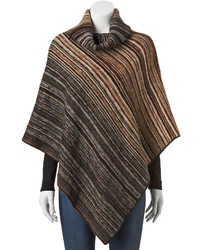 Manhattan accessories co striped turtleneck poncho medium 348826