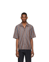 Brown Vertical Striped Short Sleeve Shirt