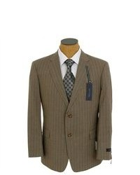 Tommy Hilfiger Brown Stripe Trim Fit Wool Suit
