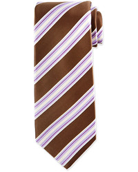 Kiton Rope Stripe Silk Tie Brownpurple