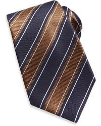 Kiton Wide Rope Stripe Woven Tie Navybrown
