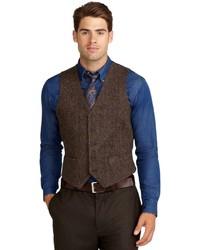 Brooks brothers harris tweed herringbone vest medium 202362
