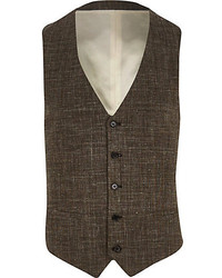 River Island Brown Textured Cross Hatch Vest