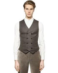 Giorgio Armani Wool Cashmere Blend Tweed Vest