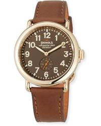 Shinola 41mm Unisex Runwell Watch Brown