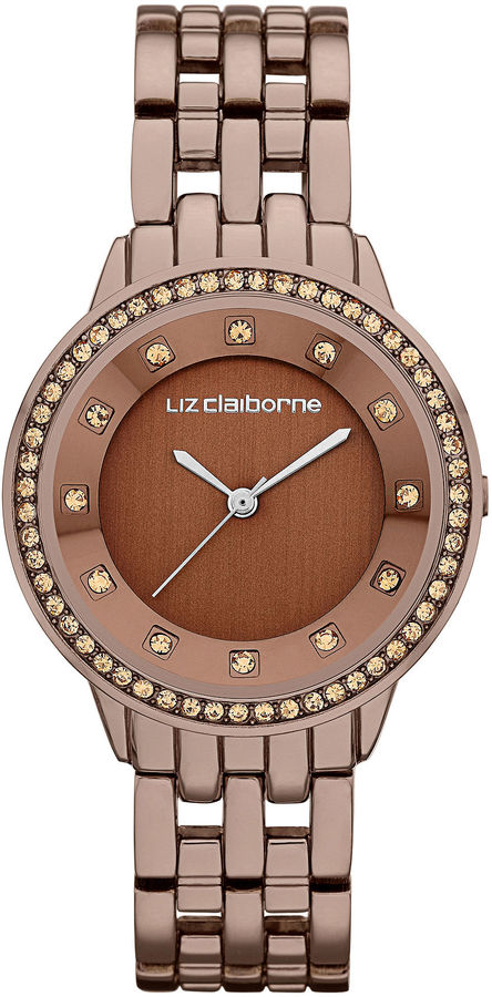 daa4fa1a5 Liz Claiborne Ladies Brown Watch With Crystals