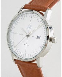 Asos Watch With Domed Lens And Date Window In Tan