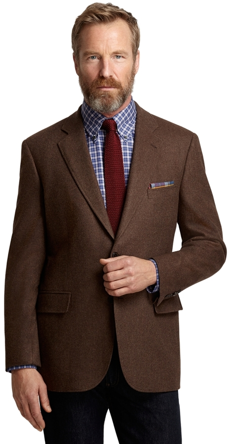 Brooks Brothers Madison Fit Brown Twill Sport Coat | Where to buy ...