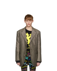 Gucci Brown And White Gg Supreme Wool Blazer