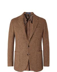 Polo Ralph Lauren Brown Slim Fit Checked Wool And Alpaca Blend Blazer