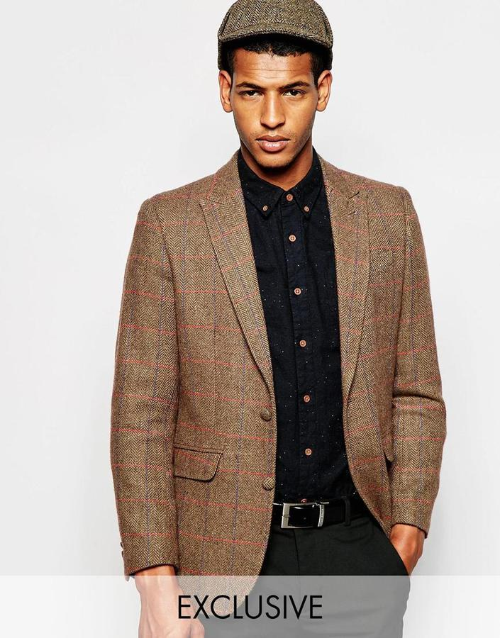 fe9e01db3 $484, Feraud Premium 80% Wool Blazer In Herringbone Overcheck
