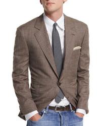 Brunello Cucinelli Flamed Wool Blend Sport Coat Brown