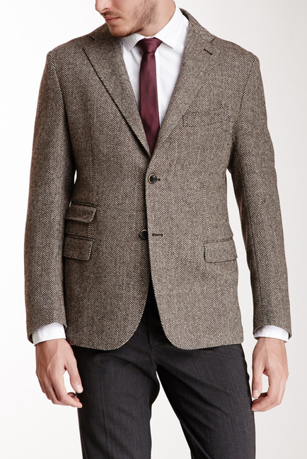Gemelli Brown Herringbone Two Button Notch Lapel Wool Jacket