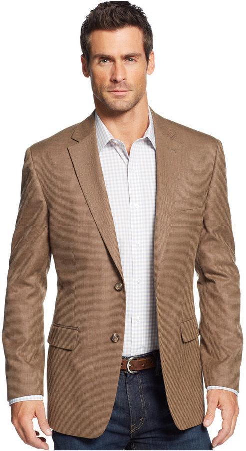 Brown Wool Blazer Tasso Elba Linen Blend Brown Khaki