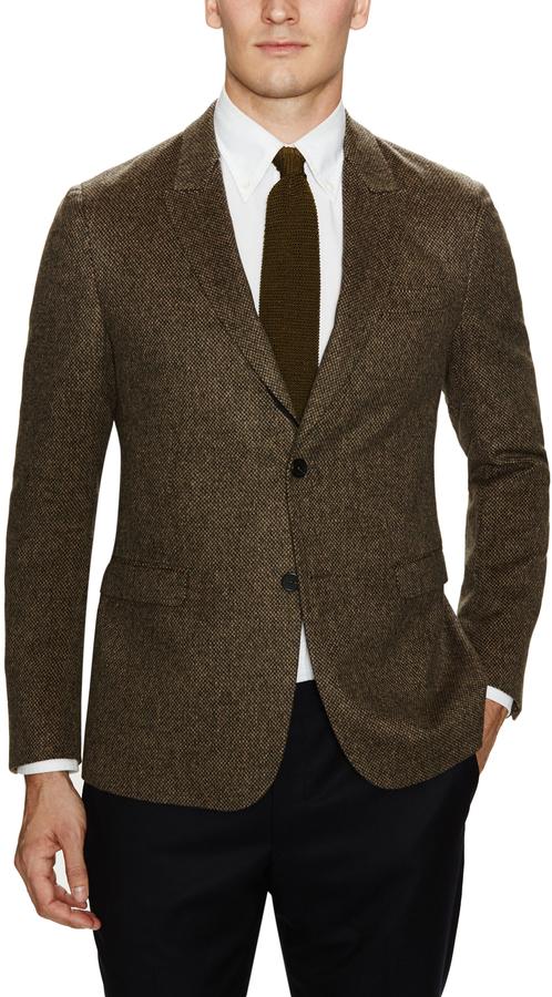 e9adf38c $799, Z Zegna Wool Camel Tweed Sportcoat With Peak Lapel