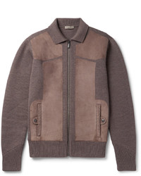 Bottega Veneta Suede Panelled Wool Bomber Jacket