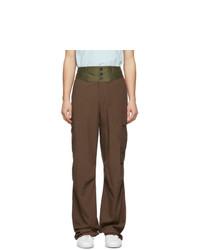 Lanvin Brown Contrast Waistband Cargo Pants