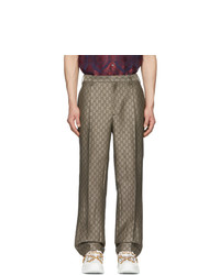 Gucci Brown And White Gg Supreme Wool Trousers