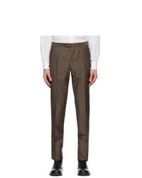 Z Zegna Brown Slim Wool Trousers
