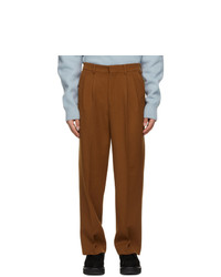 AMI Alexandre Mattiussi Brown Wide Fit Pleated Trousers