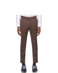 Z Zegna Brown Wool One Pleat Trousers
