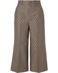 Gucci Cotton And Wool Blend Jacquard Wide Leg Pants