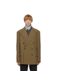 Dries Van Noten Brown Wool Double Breasted Blazer