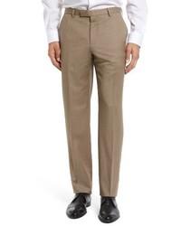 Hugo Boss Leenon Flat Front Solid Wool Trousers