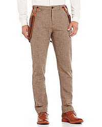 Jachs Manufacturing Co Wool Blend Flat Front Pants With Suspenders