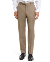 BOSS Leenon Straight Leg Solid Wool Trousers