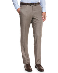 Sharkskin trofeo wool flat front trousers tan medium 594666