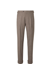 Saman Amel Taupe Tapered Pleated Mlange Wool Silk And Linen Blend Suit Trousers