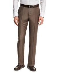 Ermenegildo Zegna Trofeo Wool Flat Front Trousers Light Brown