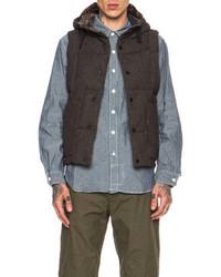 Hooded down wool blend vest medium 84125