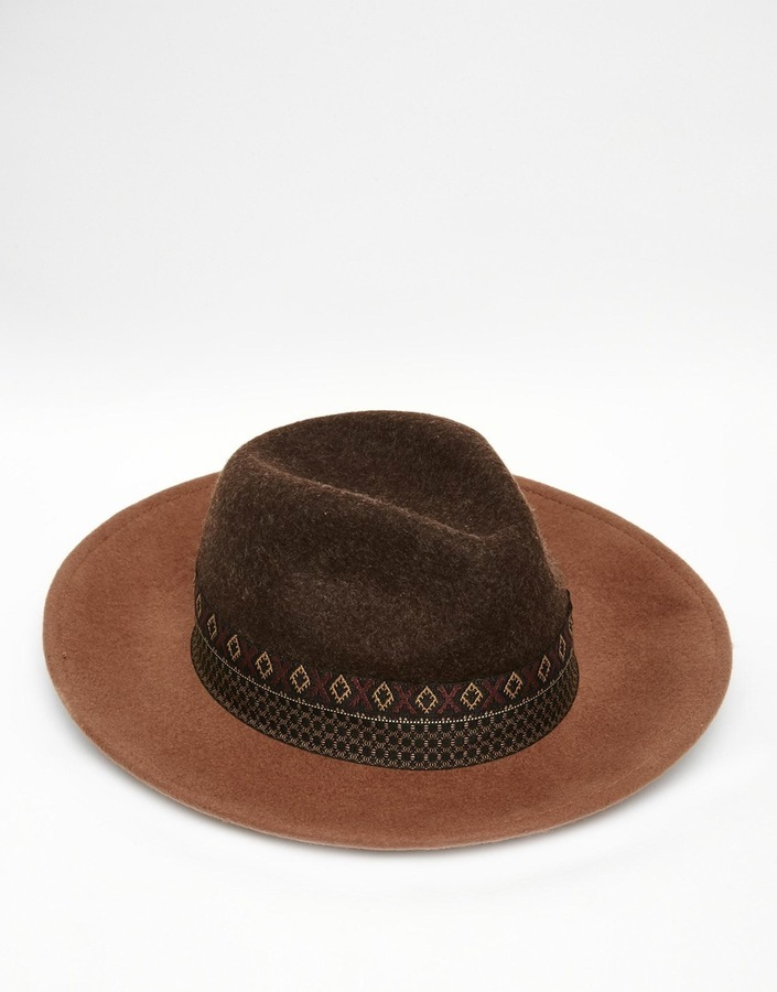 ... Asos Brand Wide Brim Fedora Hat In Brown Felt With Geo Tribal Print  Band ... 81e091ff2d7