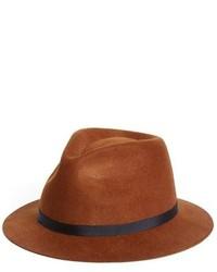 Topman Brown Short Brim Wool Hat