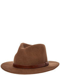 Brixton The Messer Fedora In Khaki Brown
