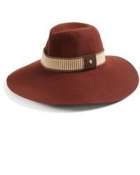 Wide brim wool felt fedora brown medium 5209153