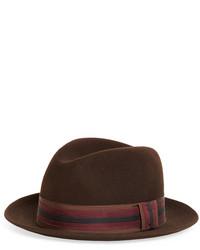 Brooks Brothers Wool Fedora With Stripe Ribbon