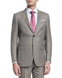 Ermenegildo Zegna Micro Tic Two Piece Trofeo Wool Suit Tan
