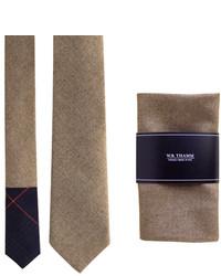 Golden Brown Neck Tie Pocket Square Set