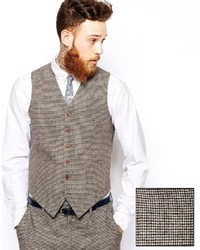 Asos Brand Slim Fit Vest In Brown Dogstooth