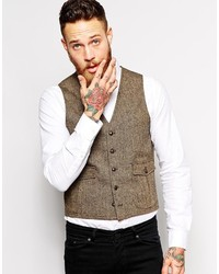 Asos Brand Slim Fit Vest In Tweed